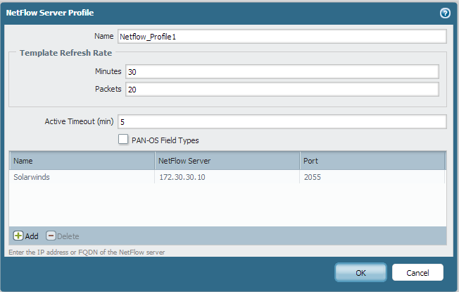 Palo Alto devices - How to configure Netflow Server Profile and