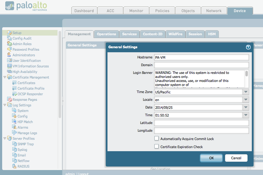 Palo Alto Networks Knowledgebase: How to Configure the Device Login