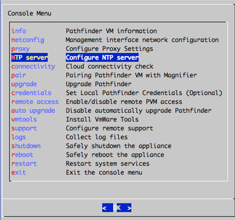 Screenshot of Console Menu with NTP Server highlighted