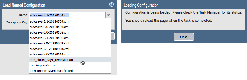 snapshot of load config