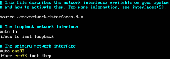 Replace ens33 (Expedition default) with Ethernet interface name determined from previous step