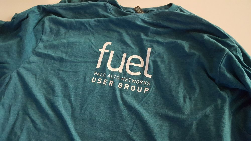 Front of event t-shirt for the Fuel user group.