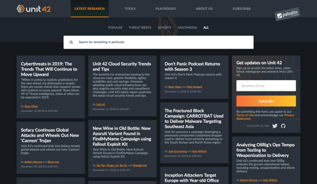 Snapshot of new website for Unit 42 Threat Intelligence