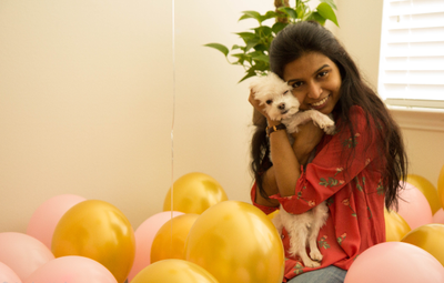 Aditi and Sugar, her beloved Maltese dog, enjoying some quality time at home. Aditi finds a work-life balance perfectly manageable working at Palo Alto Networks.