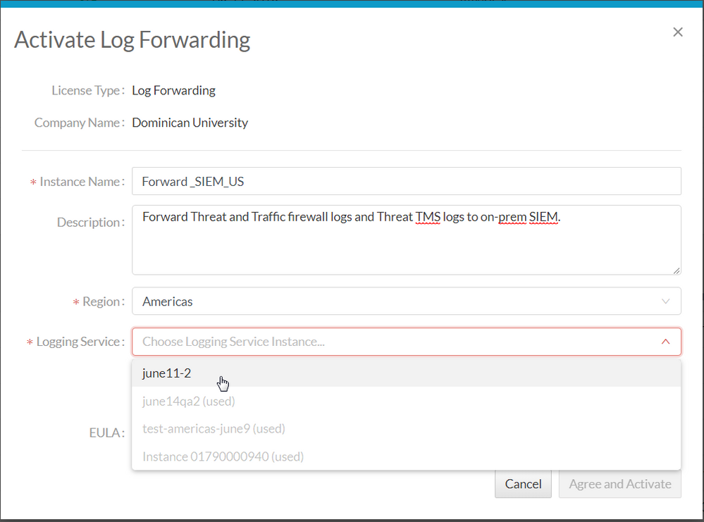 Screenshot of form to Activate Log forwarding