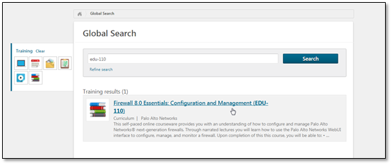 Screenshot of search results in Learning Center