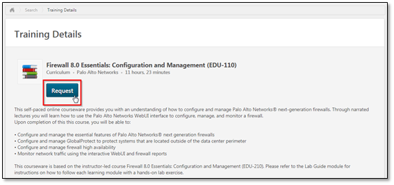 Screenshot of training details for Firewall 8.0 Essentials