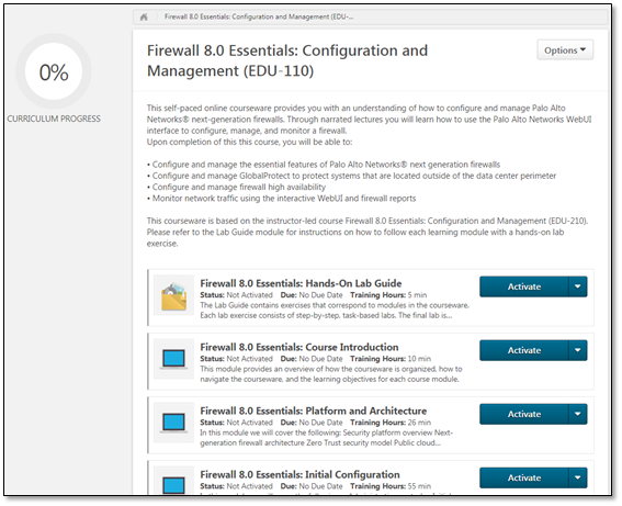 Screenshot of coure introduction for Firewall 8.0 Essentials