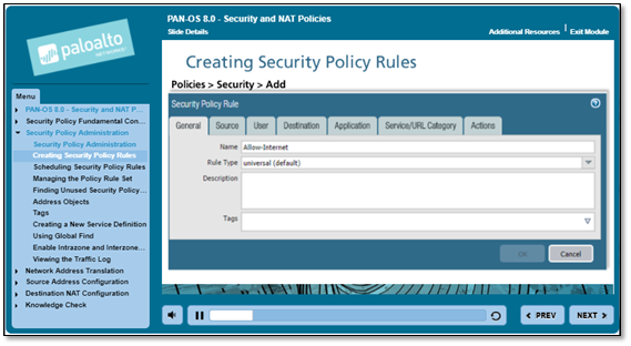 Screenshot of Creating Ssecurity Policy Rules
