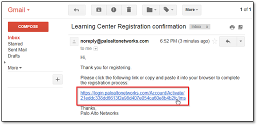 Screenshot of confirmaion email in Gmail with highlighted link