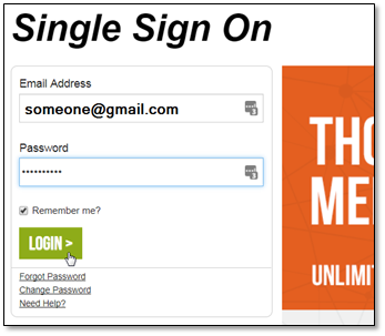 Screenshot of Single Sign On login page