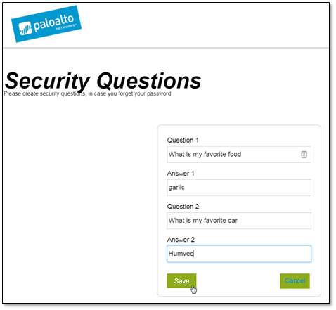 Screenshot of Security Questions and Answers page
