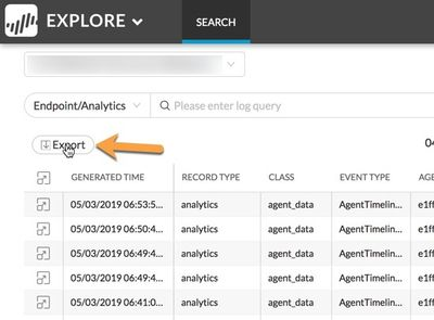 Explore web interface, pointing out the export options for Endpoint/Analytics
