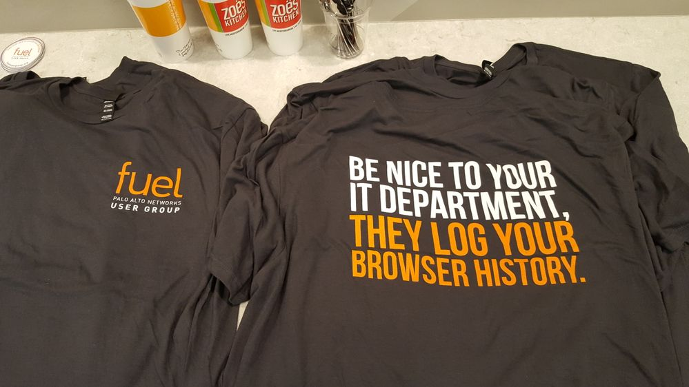 Picture of Fuel User Group t-shirts that say Be nice to your IT department, they log your browser history.