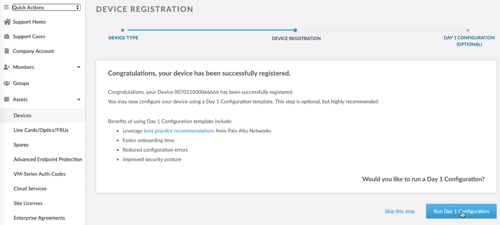 Access to the Day 1 Configuration tool after registering a new device