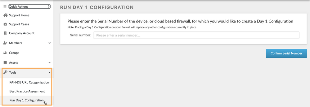 Accessing the Day 1 Configuration tool if registration was already completed