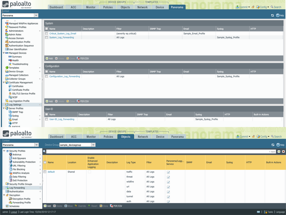Web interface view of Panorama Log forwarding profiles.