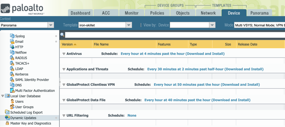 Web interface view of dynamic update schedule for Panorama and managed firewalls.