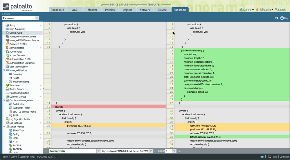 View of web interface for Panorama Config Audit.