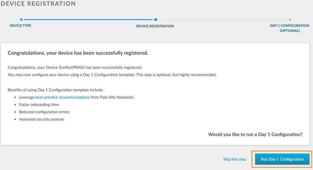 View of Device Registration web interface before running Day 1 Configuration.
