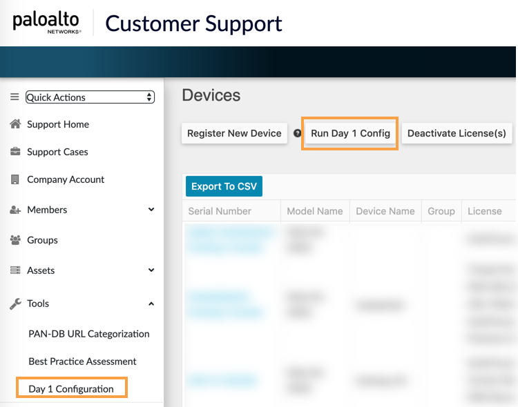 View of Customer Support Portal in Tools menu highlighting Run Day 1 Config.
