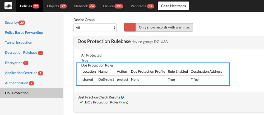 DoS Protection Rulebase BPA report with Dos Protection Rules highlighted.