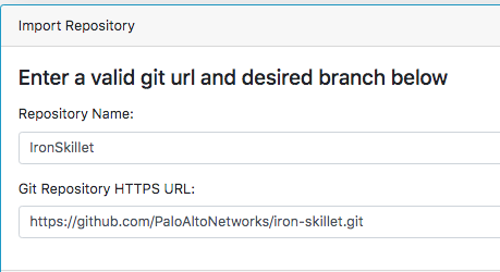 Import Repository - Enter a valid git url and desired branch below