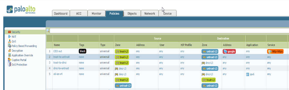 Firewall view of security policies with color coded tags.