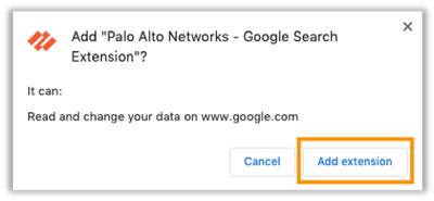 Add Palo Alto Networks Google Search Extension