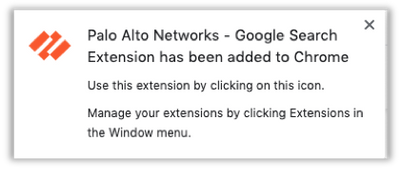 Palo Alto Networks Google Chrome Extension has been added
