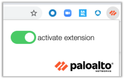 Palo Alto Networks Google Chrome Extension Activated
