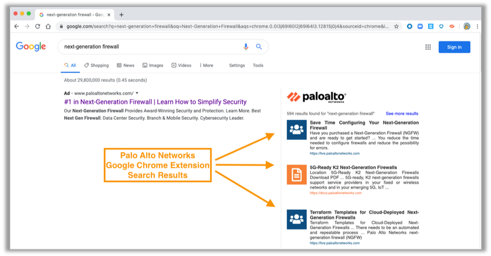 Palo Alto Networks Google Chrome Extension Search Results