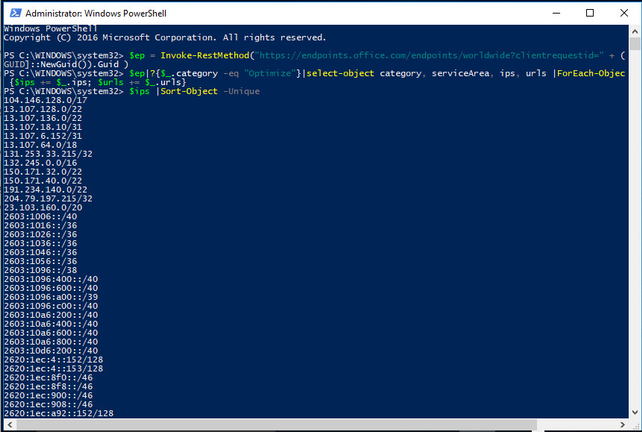 PowerShell showing the REST API commands