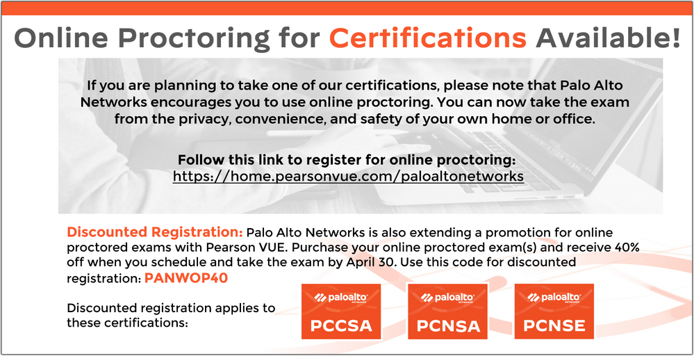 Online Proctoring for Certifications Available