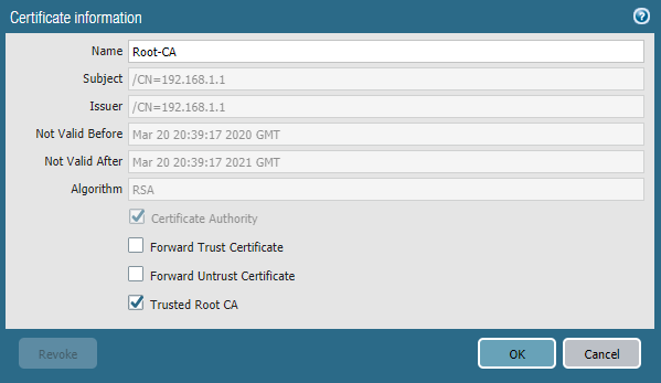 Certificate Information - Trusted Root CA
