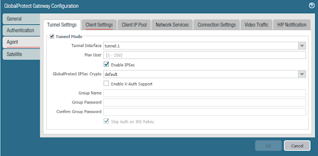 GlobalProtect Gateway Configuration - Tunnel Settings Tab