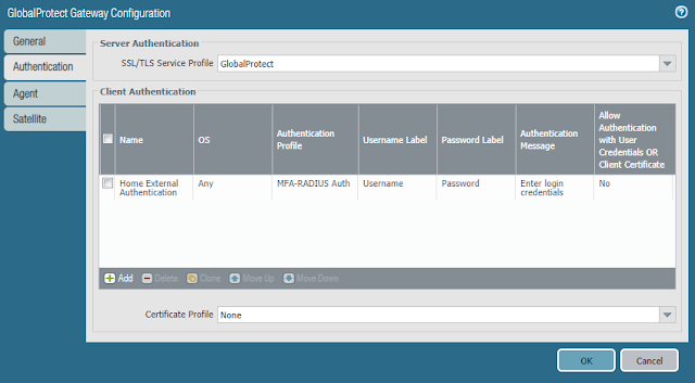 GlobalProtect Gateway Configuration - Home External Authentication