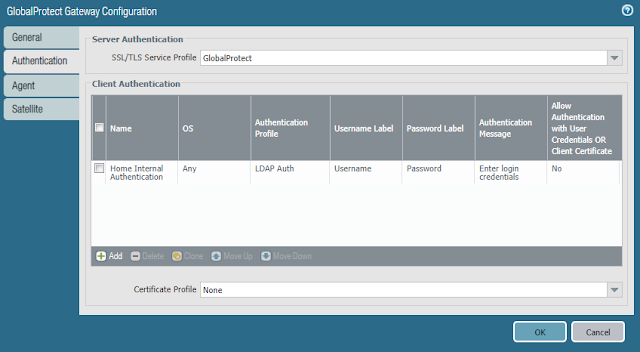 GlobalProtect Gateway Configuration - Home Internal Authentication