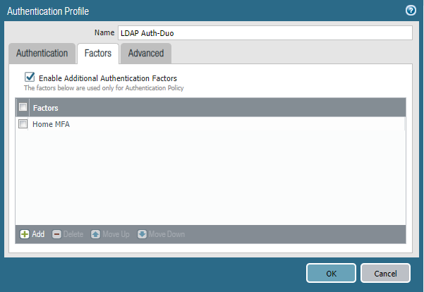 Authentication Profile for LDAP Auth-Duo
