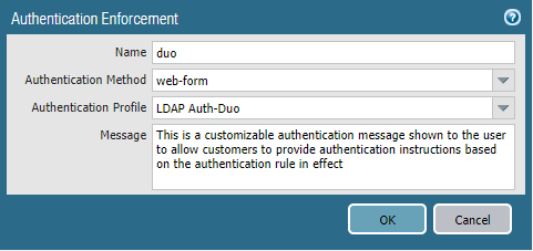 Authentication Enforcement for Duo