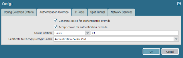 Configs > Authentication Override Tab