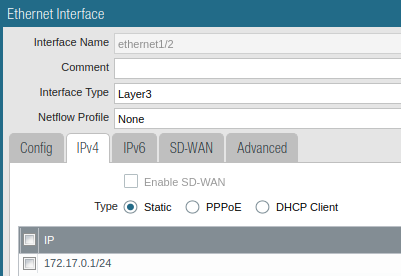 Static IPv4 interface configuration