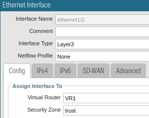 Ethernet1/2 trust zone assignment