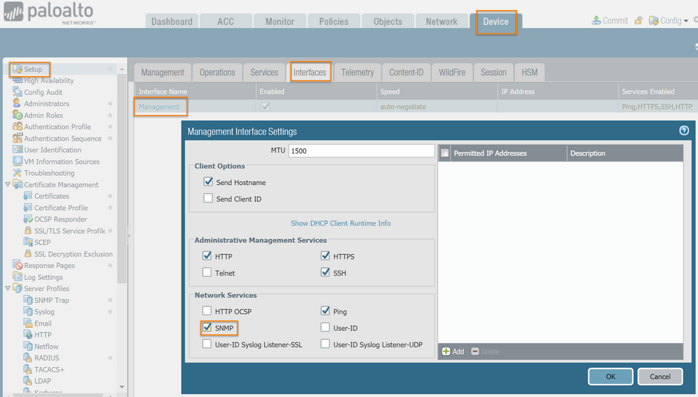 SNMP Management Interface Settings