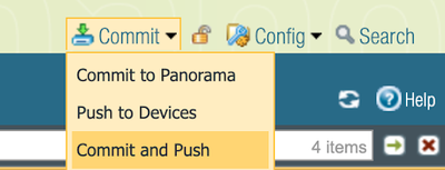 Panorama Commit Options Menu