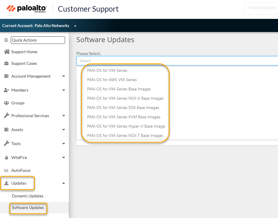 Palo Alto Networks Customer Support Portal page with software update window
