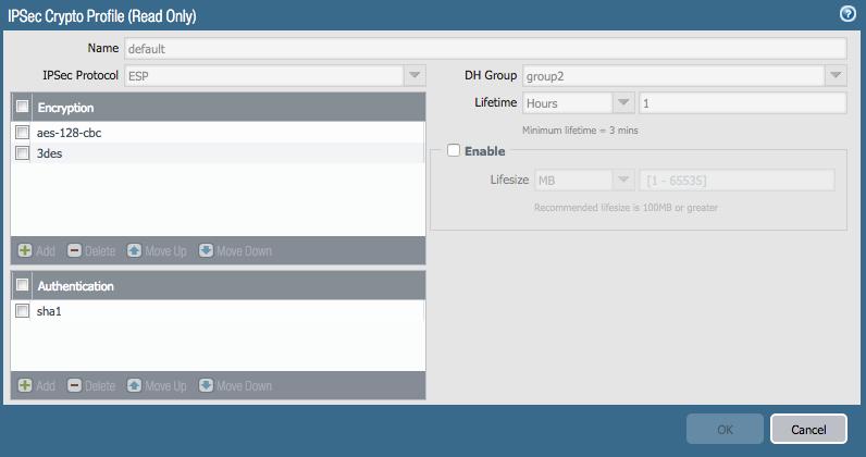 IPSec Crypto Profile window