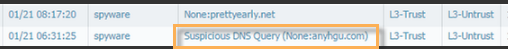 Detail of Threat log with Suspicious DNS Query.