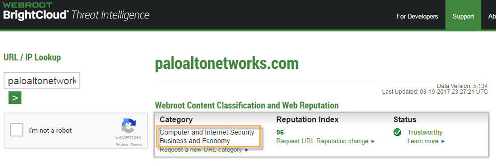 BrightCloud site showing 2 different URL categories.
