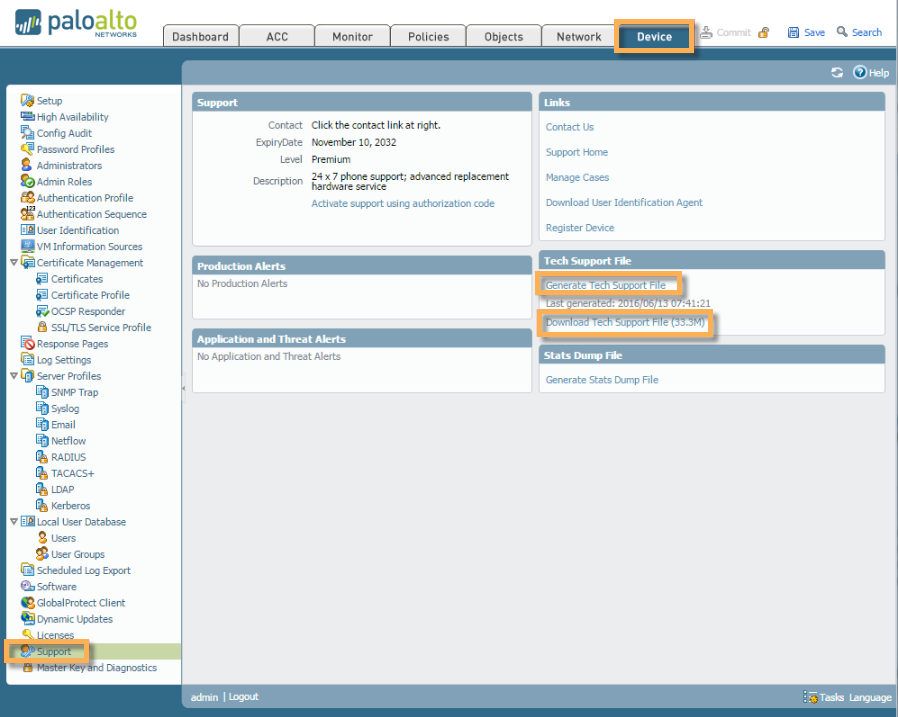 Device > Support , showing you where to generate the Tech Support  file from the WebGUI.